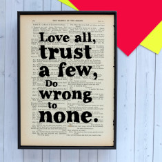 Shakespeare love all quote print