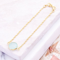 Tablet single stone bracelet with aqua chalcedony