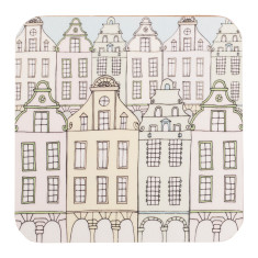 Set of four Flemish Townhouses coasters
