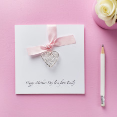 Personalised Mother's Day card with wire heart