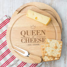 Personalised queen of cheese board set with knives