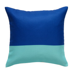 Blue and aqua colour block cushion cover (set of 2)