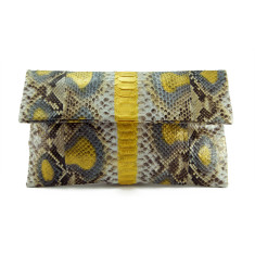 Gold motif python leather classic foldover clutch