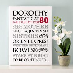 Personalised 80th Birthday Typographic Art