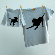 Matching dog & puppy t-shirt twinset set for dad & child