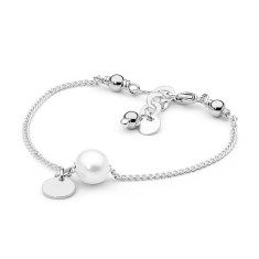 Sterling silver tag pearl bracelet