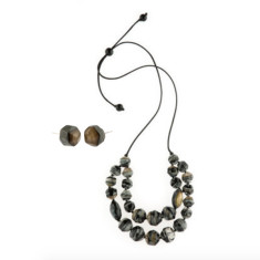 Eloquence double edge necklace & earring set black