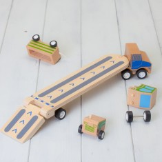 Wooden Click Clack Car Transporter And Tractor