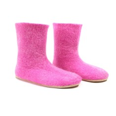 Custom Made Women's Wool Booties in Hot Pink