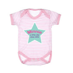 Personalised Stripy Star Baby Grow With Name