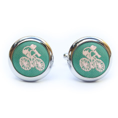 Green cyclist cufflinks