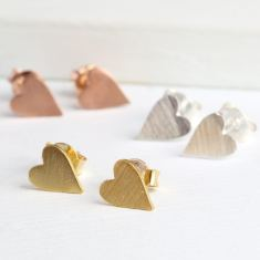 Little Brushed Heart Stud Earrings