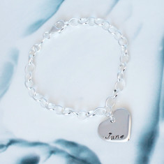 Personalised Love heart Sterling Silver Bracelet