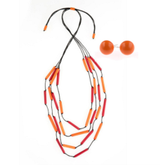 South Pacific tubular necklace & earring set (in 2 colours)