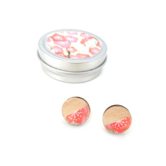 Birch, chiyogami and sterling silver blush blossom studs in chiyogami gift tin