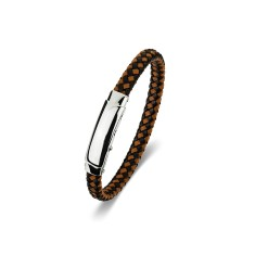 Men's two-tone leather bracelet