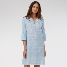 Kaftan Nightie in Blue Hexagon print