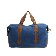 Blue canvas weekend duffle bag