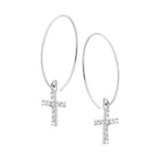 Sterling silver hoop and CZ cross earrings