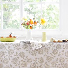 Oilcloth tablecloth - hydrangea oatmeal