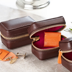 Leather Cufflink Box for Travel