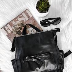 Sarah Black Leather Backpack
