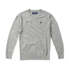 Boys Classic V-neck Grey Jumper with Navy Palm tree