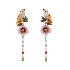 Mother barn owl drop earrings