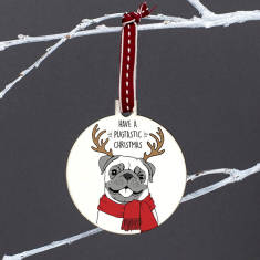 Santa'paws' Pug Christmas Bauble