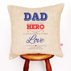 Hero and love personalised linen cushion cover