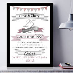 Personalised Silver Anniversary Typographic Art