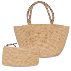 Babet raffia bag set (various handle colours)