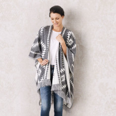 Azteca Poncho in Grey and White