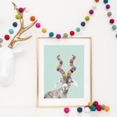 Geometric goat art print