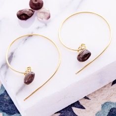 Ava Beaded Hoops With Smoky Quartz