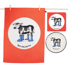 Beef Wellington plate, tea towel & card gift pack