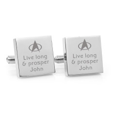 Personalised live long and prosper cufflinks