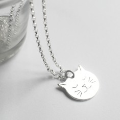 Personalised Sterling Silver Frida Cat Face Necklace