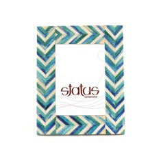 Two toned blue chevron frame