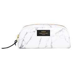 Wouf small beauty bag in white marble print
