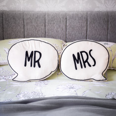Mr and Mrs Speech Bubble Cushion