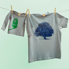 Oak tree & acorn t-shirt set for dad and child (grey)