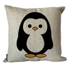 Linen Mr. Penguin cushion cover