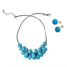Atlantis pippy necklace + round studs set aqua