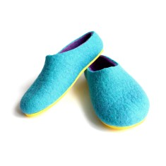 Womens Handmade Felt Slippers Turquoise Twist