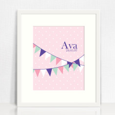 Personalised bunting print for girls
