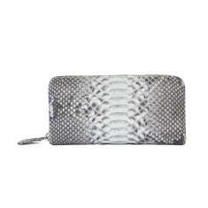 Natural motif python leather long wallet