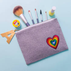 Rainbow Heart Personalised Make Up Bag Clutch