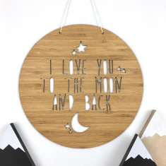 I love you to the moon and back bamboo wall hanging (2 sizes)