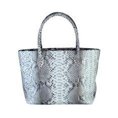 Natural motif python leather tote bag